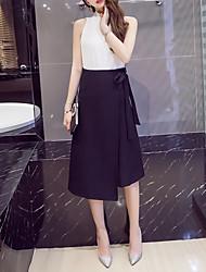 Coreano fã era saia fina saia cintura alta colocar em um grande laço irregular uma seção de saias palavra longa de mulheres de grande