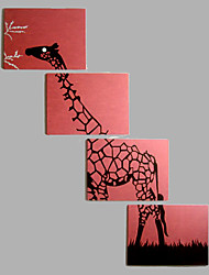 Hand-Painted Modern Abstract Animal Deer Oil Painting Two Panel Canvas Oil Painting Per Panel Size 60*90CM