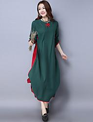 2017 primavera e no verão novo vento nacional retro vestido de algodão teatral vestido de duas peças falso