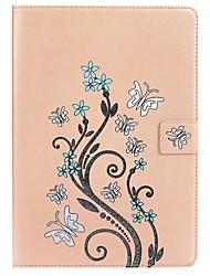 Para Porta-Cartão Com Suporte Com Relevo Capinha Corpo Inteiro Capinha Borboleta Rígida Couro PU para Apple iPad Pro 9.7 ''