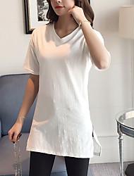 Zeichen kurz-sleeved T-Shirt weiblichen langen Abschnitt von Bambus Baumwolle V-Ausschnitt T-Shirt Normallack Hemd koreanischen wilden