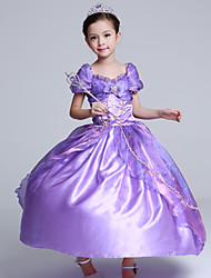 Ball Gown Tea-length Flower Girl Dress - Satin Tulle Short Sleeve Off-the-shoulder with Bow(s) Ruffles