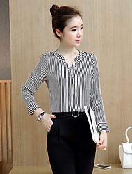 Signer les nouvelles printemps 2017 femmes&# 39; s à rayures à manches longues fan korean slim v-neck t-shirt féminin sauvage