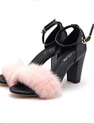 Damen-High Heels-Lässig-PU-Blockabsatz-Komfort-Schwarz Grau Rosa