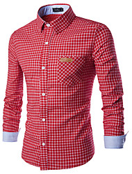 The Latest Men's Personality Fashion Leisure Classic Plaid Long-Sleeved Shirt