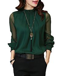 Для женщин Нарядная Офис Все сезоны Рубашка Воротник-стойка,Винтаж Изысканный Однотонный Длинный рукав,Искусственный шёлк Полиэстер