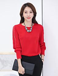 2017 primavera nova coreano mulheres em torno do pescoço de manga comprida vaga vermelha maré camisa