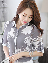 Women's Casual/Daily Simple Blouse,Solid Shirt Collar Long Sleeve Polyester