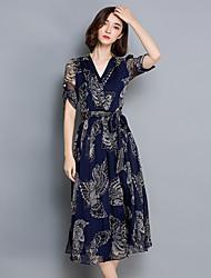 Zeichen 2017 Sommer neue große Rock elegante Mode gedruckt kurz-sleeved V-Ausschnitt Taille Kleid Frauen