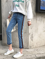 Sign spring new personalized embroidered side stripe jeans female wild nine straight jeans Nett