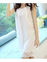 Women Chemises & Gowns Nightwear,Print Rainbow-Medium Cotton White Women's