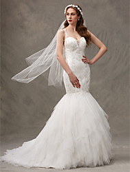 LAN TING BRIDE Fit & Flare Wedding Dress Wedding Dress with Wrap Sweep / Brush Train Straps Lace Tulle with Draped Lace