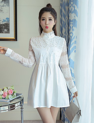 2017 spring new white lace collar long-sleeved dress beads high waist skirt bottoming Korean version of a solid color skirts