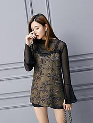 2017 весна новая печать кружева блузку марлевые рубашки женские с длинными рукавами шифона рубашка маленькая рубашка кружевные