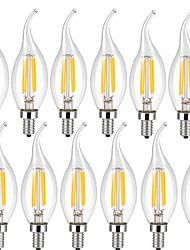 4w e14 led bulbos de filamento ca35 4 cob 400 lm blanco cálido blanco fresco decorativo ac 220-240 v 12 piezas