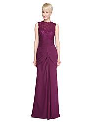 Sheath / Column High Neck Floor Length Chiffon Lace Bridesmaid Dress with Beading Sash / Ribbon Side Draping Pleats by LAN TING BRIDE®