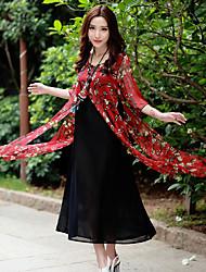 signe été vent national nouveau faux deux pièces robe cinquième manche robe à fleurs longue section de style chinois
