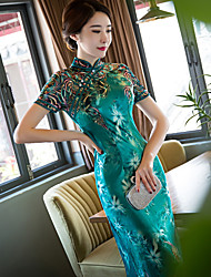 Women's Plus Size Going out Bodycon Sheath Dress,Embroidered Stand Maxi Short Sleeve Rayon Polyester Spring Summer Mid Rise InelasticThin
