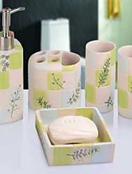 European Pastoral Rinse Accessory Set of 5 Objects Resin /Contemporary