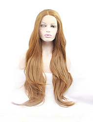 жен. Парики из искусственных волос Лента спереди Длиный Естественные волны Клубничный блондин Природные волосы Прямой пробор Парик из