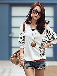 Damen Art Deco Einfach Alltagskleidung Alltag Strasse T-shirt,Rundhalsausschnitt Frühling Langarm N / A Mittel