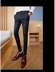 Men's Low Rise Micro-elastic Chinos Pants,Simple Slim Polka Dot Striped Plaid