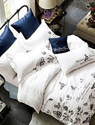 Set of 4 Pieces Cotton Bedding Quilt 200*230 Bed Linen 245*250 Pillowcase 48*74