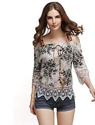 Damen Druck Einfach Lässig/Alltäglich T-shirt,Bateau Sommer ¾-Arm Polyester Mittel
