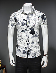 Men's Going out Beach Simple Shirt,Print Check Shirt Collar Short Sleeve Cotton