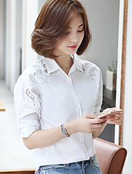 Women's Formal Simple Blouse,Solid Shirt Collar Long Sleeve Cotton