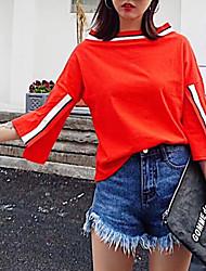 Damen Solide Einfach Niedlich Street Schick Ausgehen Lässig/Alltäglich T-shirt,Bateau Alle Saisons Langarm Baumwolle Mittel