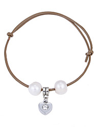 Lureme Cultured Freshwater Pearl Khaki Adjustable Leather Bracelet with Heart Pendant