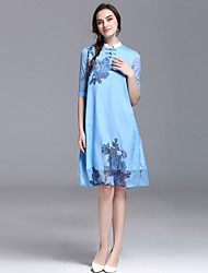 YHSPWomen's Going out Beach Holiday Vintage Sophisticated A Line Sheath DressFloral Stand Knee-length  Length Sleeve Polyester SpringMid