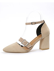 Women's Heels Club Shoes PU Spring Summer Dress Party & Evening Club Shoes Buckle Chunky Heel Black Beige Green 3in-3 3/4in