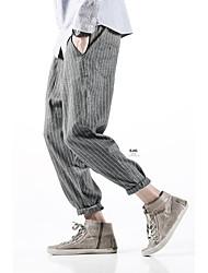 Masculino Simples Cintura Média Micro-Elástico Chinos Calças,Solto Listrado,Camurça