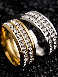 Gold Silver Black Crystal Rings Stainless Steel Wedding Rings For Women Couple Rings Engagement Ring For Men