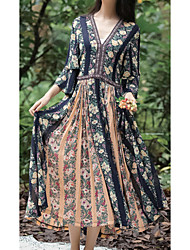 Women's Going out Casual/Daily Beach Swing Dress,Floral V Neck Maxi ¾ Sleeve Others Summer Mid Rise Micro-elastic Medium