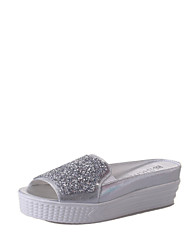 Women's Sandals Creepers Gladiator Light Soles PU Summer Outdoor Casual Walking Crystal Sparkling Glitter Creepers White Silver2in-2