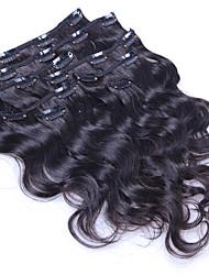 100% cuerpo natural clip de onda en extensiones de cabello humano pinza de pelo de Brasil en extensión 8 PC / set 100g