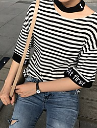 Sign 2017 new striped T-shirt hollow letter embroidery