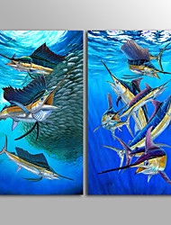 Canvas Print Animal Modern FishTwo Panels Canvas Vertical Print Wall Decor For Home Decoration