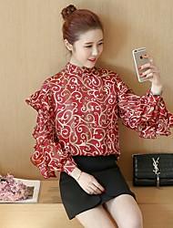 Знак весна 2017 весна одежда новый корейский свободный flounced шифон рубашка с длинными рукавами рубашка рубашка нижняя рубашка женский