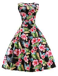 Amazon hot hepburn vent rond col sans manches rétro imprimé robe caletière jupe spot