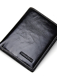 Contacts Genuine Cowhide Waxy Thin Wallet for Man Pocket Purse Casual Small Clutch