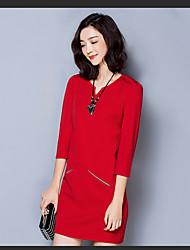 assinar novo estilo da moda coreana tecido de algodão de manga v-pescoço magro era vestido fino de grandes dimensões mulheres