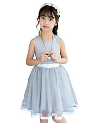 Girl's Casual/Daily Holiday Solid Dress,Cotton Polyester Summer Sleeveless