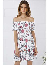 Comércio exterior na Europa e América 2017 mulheres novas ebay amazon palavra ombro vestido de impressão floral