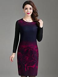 Modelo de tiro real 2017 versão coreana da saia nova cintura de impressão era fina ol cultivar vestido de lã de mangas compridas outono e