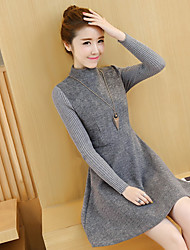 Sign 2016 winter woolen dress Slim was thin thick long-sleeved knit dress bottoming send Necklace ~