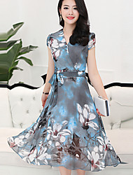 Women's Plus Size Going out Simple A Line Dress,Print V Neck Midi Short Sleeve Polyester Summer Mid Rise Inelastic Medium